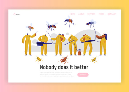 Mosquito Pest Control Professional Character Landing Page. Man in Uniform Fight with Insect. Cockroach Disinfection Service with Toxic Fumigation Website or Web Page. Flat Cartoon Vector Illustration Standard-Bild - 118851174