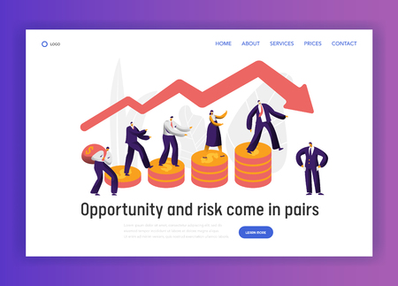 Financial Risk Business Character Graph Concept Landing Page. Businessman Walk on Coin Investment Banner. Trust Economy Bankrupt Website or Web Page. Flat Cartoon Vector Illustration