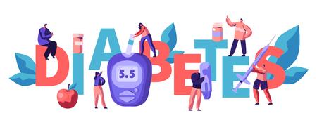 Diabetes-Blutzuckerspiegel-Test am Digital-Glukometer-Typografie-Poster. Arzt, der Glukose mit Online-Gerät am blauen Überwachungsgerät-Werbebanner-flache Karikatur-Vektor-Illustration misst