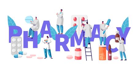 Cartel de la tipografía del carácter de la industria de la farmacia del negocio de la farmacia. Paciente de curación farmacéutica. Producto de farmacia profesional. Ilustración de vector de dibujos animados plana de píldora de vitamina de la industria de salud en línea