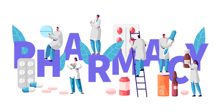 Pharmacy Business Drug Store Industry Character Typography Poster. Pharmacist Cure Patient. Professional Drugstore Product. Healthcare Online Industry Vitamin Pill Flat Cartoon Vector Illustration