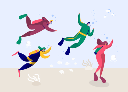 Underwater Scuba Diver Man and Woman Diving in Sea. People Deep Dive with Equipment Flippers Goggles and Oxygen Wetsuit. Summer Snorkeling with Fish. Flat Cartoon Vector Illustration