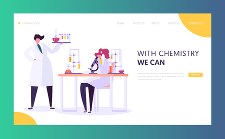Pharmaceutic Laboratory Research Concept Landing Page. Scientists Characters Working in Chemistry Lab with Medical Equipment Microscope, Flask, Tube Website. Vector illustration