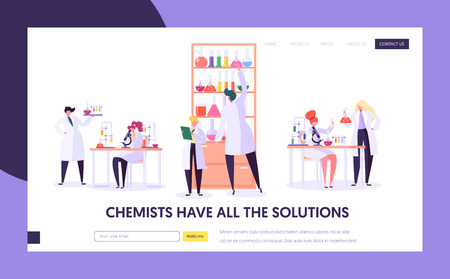 Pharmaceutic Lab Research Concept Landing Page. Doctor Man Character and Woman Assistant in Medical Uniform. Microscope Flask Tube Website or Web Page. Flat Cartoon Vector Illustration Illustration