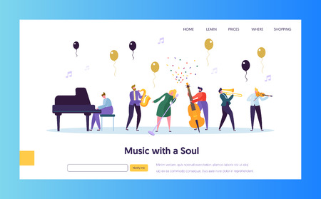 Fun Jazz Concert Show Concept Landing Page. Musician Character with Musical Instrument Saxophone Piano Violin Trumpet. Colorful Jazz Band Image Website or Web Page. Flat Cartoon Vector Illustration
