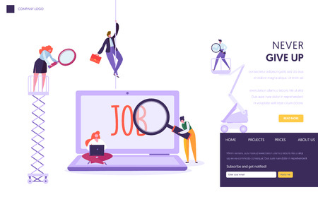Online Job Search Concept Landing Page. People Character with Laptop and Magnifier Looking for Profession Staff. Human Resource Website or Web Page. Flat Cartoon Vector Illustration 向量圖像