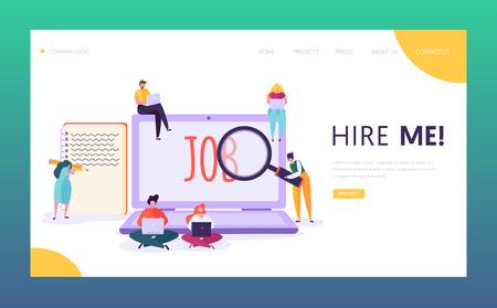 Online-Jobsuche Konzept Landing Page. Männliche und weibliche Charaktere schreiben einen kreativen Lebenslauf auf der Suche nach einer guten Gehaltsstelle. Website oder Webseite der Personalabteilung. Flache Cartoon-Vektor-Illustration