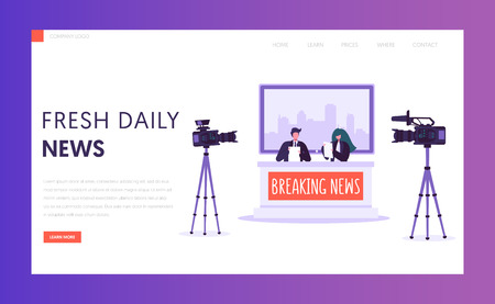 Breaking News Program Concept Landing Page. Live Stream in Television Studio. Announcer Male and Female Character Shoot on Camera Website or Web Page. Flat Cartoon Vector Illustration Stock Vector - 118851182