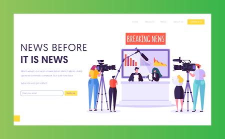 Breaking News Programm Konzept Landing Page. Videograf mit Kamera-Shooting im Fernsehstudio. Reporter-Charakter liest Text, der auf der Schreibtisch-Website oder der Webseite sitzt Flache Cartoon-Vektor-Illustration Vektorgrafik
