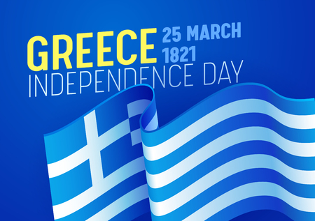 Greece Independence Day Greeting Card with Waving Flag Image on Blue Background. Greek National Freedom Holiday Concept. Can use for Banner or Poster. Flat Cartoon Vector Illustration