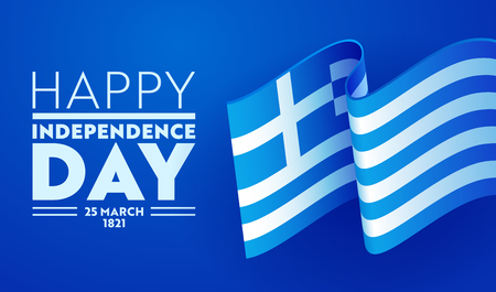 Greece Happy Independence Day Greeting Poster with Waving Flag in Traditional Color on Blue Background. 25 March 1821 Patriotic Revolution Concept. Country Emblem Flat Cartoon Vector Illustration