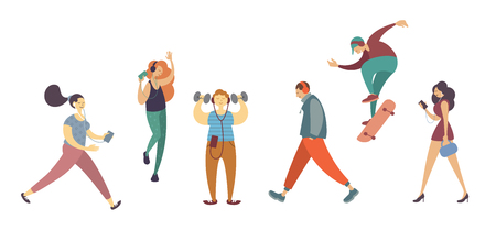 Male and Female Character Listening Music with Headphone on White Background Isolated Set. Active People Image Dancing, Skating, Walking, Do Sport Exercise. Flat Cartoon Vector Illustration Ilustração