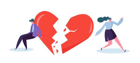 Broken Heart People Lover Concept. Sad Young Man and Woman Character Suspect Partner Jealousy. Crisis Family Relationship. Emotion Partner Conflict Flat Cartoon Vector Illustration