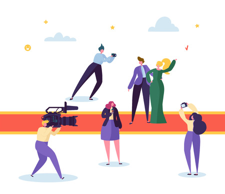 Best Film Award Festival Red Carpet Concept. Famous Beautiful Actor Male and Female Character Posing for Photo. Correspondent with Camera Live Stream Interview. Flat Cartoon Vector Illustration
