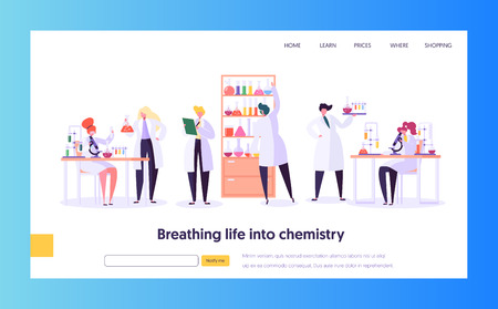 Pharmaceutic Laboratory Research Concept Landing Page. Scientist Character Working in Chemistry Lab. Medical Equipment Microscope Flask Tube Website or Web Page. Flat Cartoon Vector Illustration