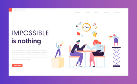 Business Competition Concept Landing Page. Worker Gender Challenge. Male and Female Character in Suit Armwrestling at Office Desk Website or Web Page. Flat Cartoon Vector Illustration Çizim