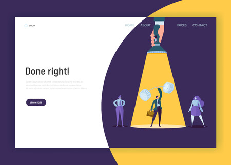 Recruitment Leadership Creative Idea Concept Landing Page. Hand with Flashlight Pointing to Strong Businessman Character. Human Resource Website or Web Page. Flat Cartoon Vector Illustration Banque d'images - 123179732