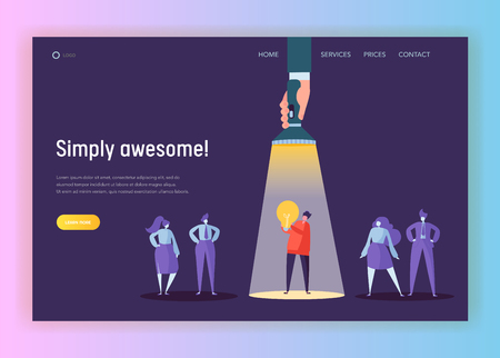 Recruitment Career Leadership Creative Idea Concept Landing Page. Flashlight Pointing to Male Character Lighting. Innovation Hr Company Solution Website or Web Page. Flat Cartoon Vector Illustration  イラスト・ベクター素材