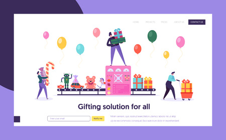 Toy Factory Gift Packing Conveyor Concept Landing Page. People Character Hold Present Box and Candy. Preparation for Holiday Party Website or Web Page. Flat Cartoon Vector Illustration Vectores