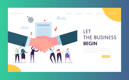 Commercial Business Cooperation Concept Landing Page. People Character Stand on Businessman Shaking Hand. Trust Partnership Symbol Website or Web Page. Success Deal Flat Cartoon Vector Illustration