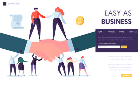 Business Partnership Concept Landing Page. People Character Stand on Two Businessman Shaking Hand. Symbol of Successful Agreement Website or Web Page. Cooperation Idea Flat Cartoon Vector Illustration
