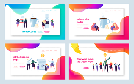 Office Coffee Break Concept Landing Page Set. Business Partner New Contract Signing. Worker Character Relaxing at Lunch Website or Web Page. Dream Teamwork Flat Cartoon Vector Illustration