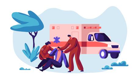 Paramedic Profession Medical Character Rescue Health on Ambulance. Medic Worker Urgent Transportation on Medicine Vehicle to Hospital for Healthcare. Flat Cartoon Vector Illustration Ilustração