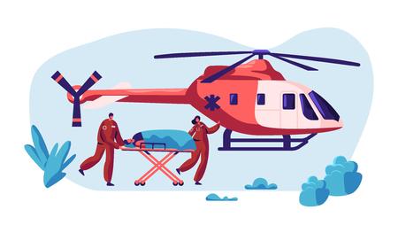 Professional Medicine Rescue. Paramedic Urgency Injured Character by Helicopter to Hospital for Healthcare. Copter Fast Transport Fly to Clinic for Help. Flat Cartoon Vector Illustration Archivio Fotografico - 123179746