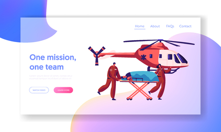 Professional Medicine Rescue Landing Page. Medic Urgent Transportation Injured Character by Helicopter to Hospital for Healthcare Website or Web Page. Flat Cartoon Vector Illustration