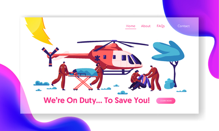 Professional Medicine Rescue Landing Page. Paramedic Urgent Injured Character Flight by Aviation Copter to Hospital for Healthcare Website or Web Page. Flat Cartoon Vector Illustration Illustration