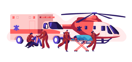 Professional Ambulance Team Care your Health. Fast Transport, Copter and Car Healthcare Character from Accident and Transportation to Clinic Urgent. Flat Cartoon Vector Illustration