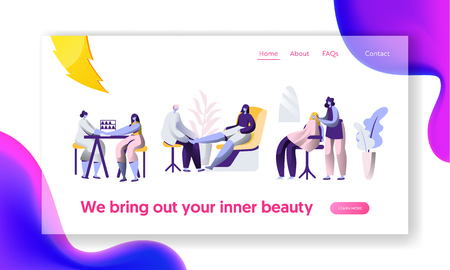 Beauty Luxury Hairstyle Salon. Stylist Clean Fingernail, Hairdressing Procedure. Client Service Landing Page. Fashionable Beautiful Woman Website or Web Page. Flat Cartoon Vector Illustration 免版税图像 - 123179759