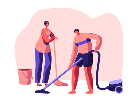 Housecleaning Banner. Character Domestic Scrubwoman Housework Cleaning Floor. Housekeeping Work Time. Equipment Detergent Broom Bucket Vacuum Cleaner Dry. Flat Cartoon Vector Illustration