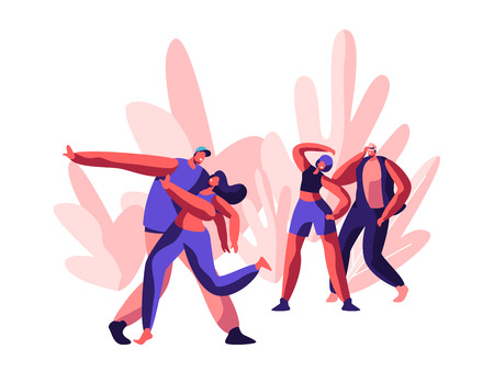 Character Showing Funny Disco. Joyful Time for Dancing and Freestyle Party. Youth Guy and Girl Activity Action Together in Dance on Music Street Concert. Flat Cartoon Vector Illustration
