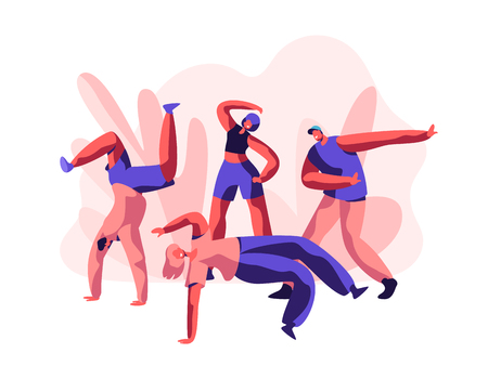 Person Dancing Breakdance Freestyle Party. Youth Teenager People show Flexible and Acrobatic. Activity Lifestyle, Cool Extreme Sport for Street Dance and Music. Flat Cartoon Vector Illustration