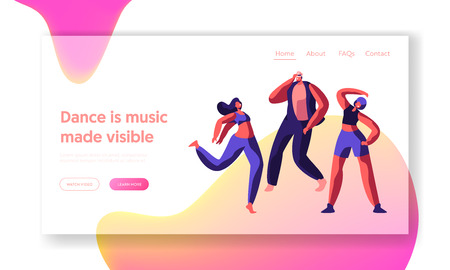 Character Dancing on Street Landing Page. Freestyle Music Cool Action Party. Young Man, Teenager Flexible Acrobatic. Motion, Activity Sport Dance for Website or Web Page. Flat Cartoon Vector Illustration Standard-Bild - 123179773