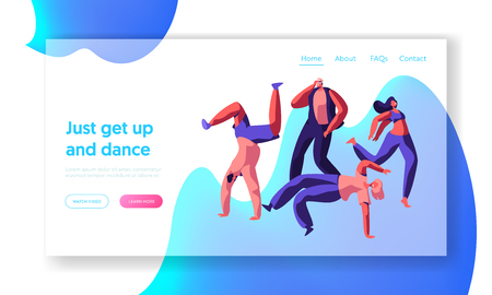 Character Dancing Extreme Breakdance on Street Landing Page. Freestyle Music Cool Action Party. Young Man, Teenager Flexible Acrobatic Website or Web Page. Flat Cartoon Vector Illustration Çizim