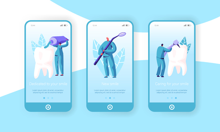 Healthy Medicine Hygiene Teeth Mobile App Page Onboard Screen Set. Dentist, Doctor Caries Medical Toothbrush and Toothpaste for Dental Website or Web Page. Flat Cartoon Vector Illustration