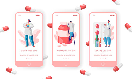 Pharmacy Store Sale Pills Mobile App Page Onboard Screen Set. Pharmacist Care about Health for Website or Web Page. Medical Drugstore Expert Medicament. Flat Cartoon Vector Illustration 스톡 콘텐츠 - 121233332