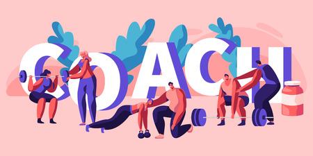 Banner de ejercicio físico de entrenador individual. Asistente de instructor Entrenamiento personal Cuerpo Músculo fuerte Culturismo Ejercicio Fuerza Deportista Salud. Ilustración de vector de dibujos animados plana