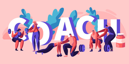 Individuelle Trainer-Fitness-Übungs-Banner. Instructor Assistant Personal Training Body Strong Muscle Bodybuilding Übung Kraft Sportler Gesundheit. Flache Cartoon-Vektor-Illustration