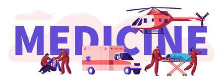 Emergency Paramedical Personnel Urgency Professional Medicine Rescue Team. Healthcare Man Casualty Vertical Banner. Stretcher Vehicle Helicopter Transport. Flat Cartoon Vector Illustration Çizim