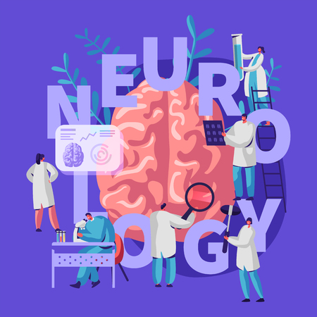 Neurology Medical Banner. Medicine Neurologist Doctor Hospital Worker Specialist Professional Diagnostic. Tomography Examination Treatment Man Person. Flat Cartoon Vector Illustration