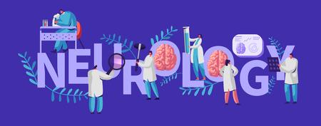 Neurology Medical Banner. Neurologist Medic Healthcare Hospital Specialist. Professional Diagnostic Tomography Diseas Examination Procedure for Patient. Flat Cartoon Vector Illustration Illustration