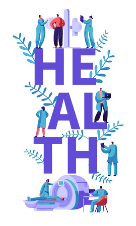 Clinic Tomography Banner. Medical Center Hospital Healthcare People Healthy Specialist with Computer Diagnosis Research. Clinical Specialist X-ray Equipment. Flat Cartoon Vector Illustration