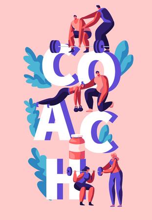 Entrenador de fitness ejercicio banner vertical. Asistente de entrenador, Entrenamiento personal para hombre y mujer. Ejercicio y acción de levantamiento de pesas para el cuerpo muscular. Ilustración de vector de dibujos animados plana