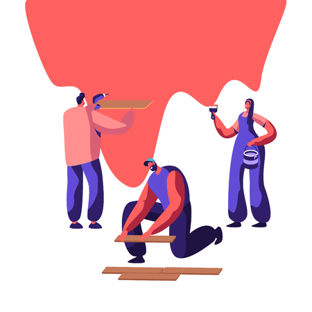 Repair Service Professional Worker in Uniform for Renovation Work. Woman Painter to Paint Wall with Paintbrush. Man Lay Laminate on Floor. Workman Keep Hand Drill. Flat Cartoon Vector Illustration