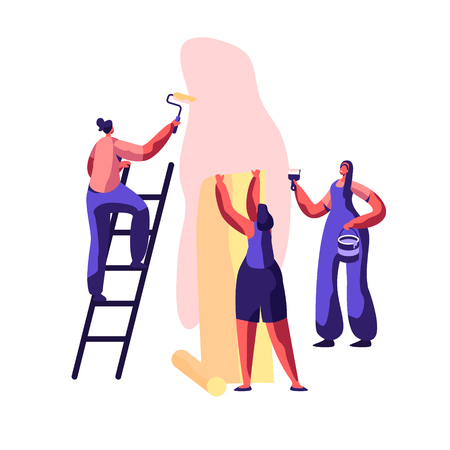 Repair Service Professional Worker for Renovation Work. Workman Smear Wall Glue with brush. Woman Glues Wallpaper Home. Craftsman on Ladder Hold Paint Roller in Hand. Flat Cartoon Vector Illustration
