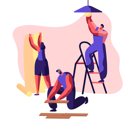 Repair Service Professional Worker in Uniform for Renovation Work. Woman Glues Wallpaper in Home. Man Lay Laminate on Floor. Workman on Ladder Change Light Bulb. Flat Cartoon Vector Illustration  イラスト・ベクター素材
