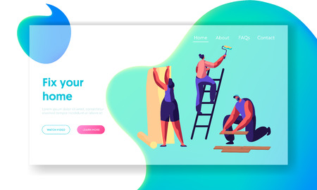 Repair Service Professional Worker Landing Page. Woman Glues Wallpaper. Human Hold Paint Roller. Man Lay Laminate. Renovation Team Work in Room Website or Web Page. Flat Cartoon Vector Illustration